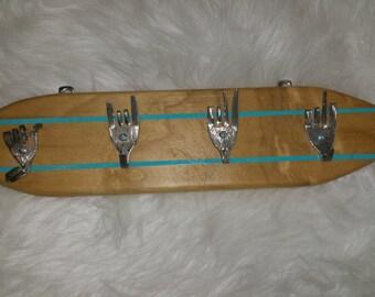 surfboard key holder, fork key holder, key holder, surfboard for keys, custom key holder,
