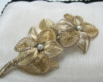 Vintage Hand Made Wire Wrapped Flower Brooch with Pearl Centers