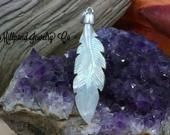 Feather Charm, Feather Pendant, Mother of Pearl Feather Charm, Bird Charm, Bird Pendant, Nature Charm, Sterling Silver, PS01652