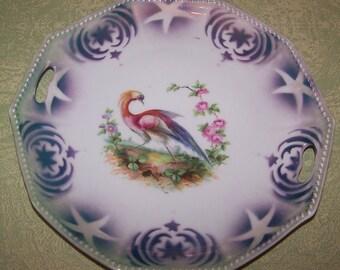 China cake plate platter star bird roses design