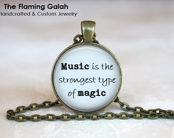 Music is the Strongest Type of Magic Pendant • Music Quote • Musician • Music Teacher • Gift Under 20 • Made in Australia (P1283)