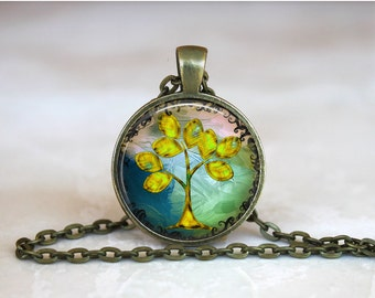 TREE OF LIFE Pendant • Spiritual Tree • Bhodi Tree • Yellow Tree of Life • Earth Mother • Gift Under 20 • Made in Australia (P0406)