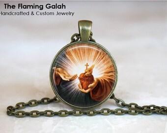 SACRED HEART Pendant • Sacre Coeur • Flaming Heart • Heart of Jesus Christ • Religious • Gift Under 20 • Made in Australia (P1127)