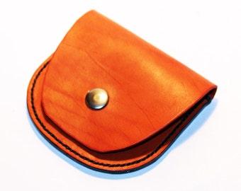 Leather wallet, orange wallet, great leather item, orange men's wallet, orange women's wallet, gift for men, gift for women.