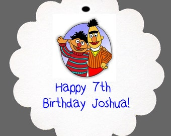 24 Personalized Sesame Street Bert & Ernie Birthday Scalloped Tags Party Favors