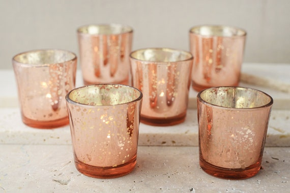 60 rose gold mercury blush glass votive candle holders bulk. Black Bedroom Furniture Sets. Home Design Ideas