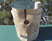Natural Cottonwood Outdoor Birdhouse with Galvanized Metal Roof and Hinged Body, Forked Perch, Window Slot Above Entry Hole