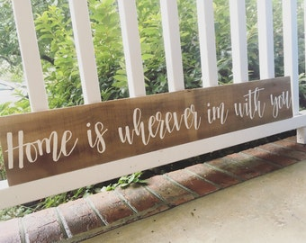 Home is wherver im with you - reclaimed wood - family sign - home decor sign