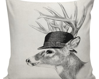 SHIPS TODAY! Deer Pillow Cover Cotton Canvas Throw Pillow 18 inch square  #UE0142