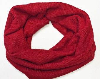 SALE: Red Knit baby tube scarf snood, baby scarf, drool scarf, baby scarf