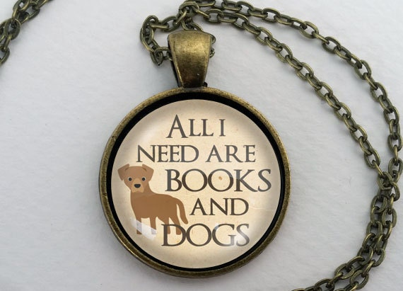 Books and Dogs Necklace