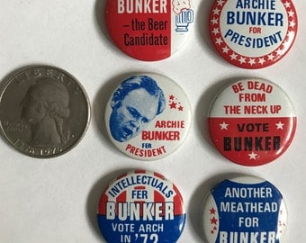 Archie Bunker for President Buttons/Pins (set of 6)