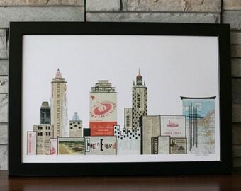 Cleveland Skyline Print Multi Colored