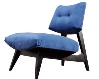 Restored Plush Mid Century Modern Slipper Chair