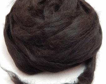 Suri Alpaca Roving  ~ Natural Black ~ 4 Ounces