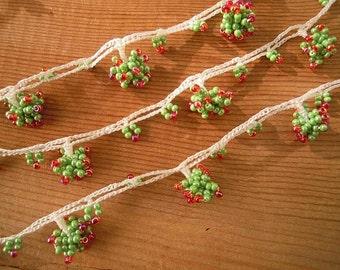 beaded crochet trim, green red