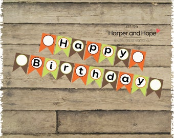 Zoo Party Happy Birthday Banner - Printable file