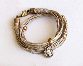 Hemp Boho Bracelet, Wrap Stacking Bracelet, Double Wrapped Multi strand Bracelet, Charm Fiber Bracelet, Summer Jewelry, Gift woman under 25