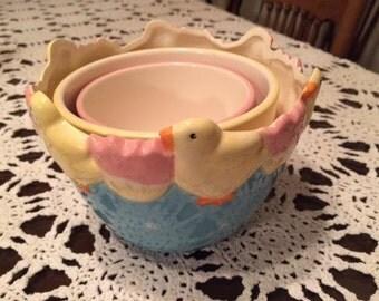 Spring Chick Easter Egg Nesting Bowls