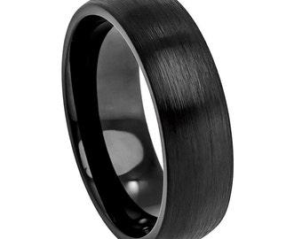 6mm cobalt wedding ring brushed finish comfort fit classic dome cobalt ring mens black - Black Wedding Ring For Him