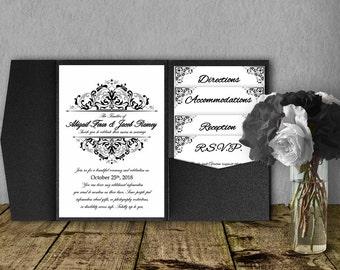Black and Silver Wedding Invitation Template Kit, Invitation Suite, Wedding Invitation, Pocket Template, DIY Wedding Invitation, Pocketfold