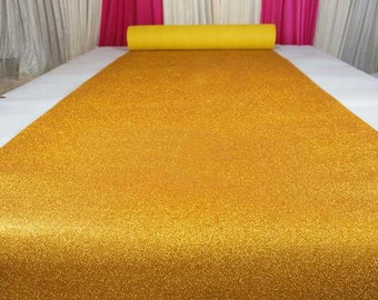 Yellow Gold Glitter Leather Fabric For Wedding Aisle Runner,Stage Runner,Width 3/3.5/4/4.5 feet,Sold By 15 feet Or Customised Length