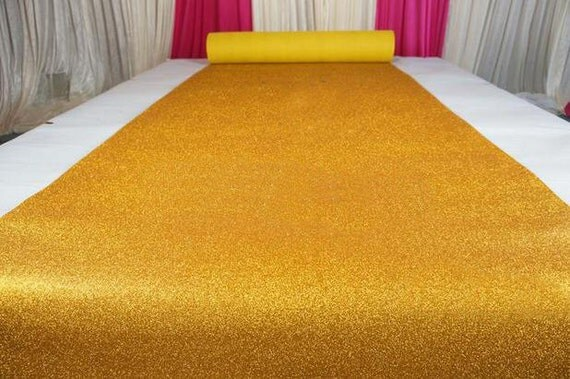 Yellow Gold Glitter Leather Fabric For Wedding Aisle