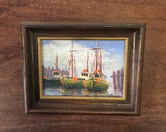 Vintage original nautical boat painting