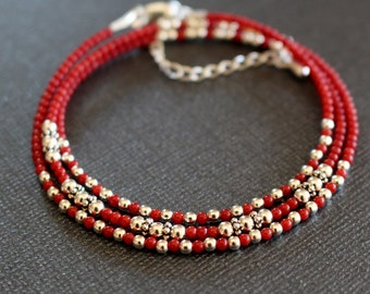 coral bracelet, coral wrap bracelet, boho chic beaded bracelet, beaded stacking bracelet, coral and silver bracelet, dainty wrap bracelet
