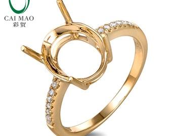 Oval Cut 9x11mm 14kt Yellow Gold 0.10ct H SI Diamond Semi Mount Ring Setting Caimao Jewelry