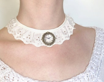 White choker/necklace with clock cameo