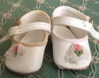 Vintage White Doll Shoes