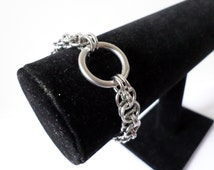 Stainless Steel Chainmail O-Ring Bracelet - Locking Chainmaille BDSM Padlock Jewelry