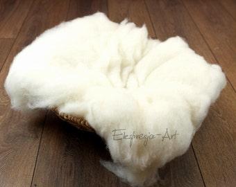 Wool cloud, ECRU, filling the baskets, newborn photo prop, woolen fluff