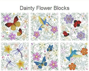 Dainty Flower Blocks Machine Embroidery Designs Instant Download 4x4 5x5 6x6 hoop 10 designs APE2383