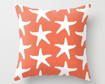 Starfish Pillow Cover - Starfish Throw Pillow Cover - Coral Pillow Cover - Nautical Pillow Cover - Nautical Decor - Summer Decor