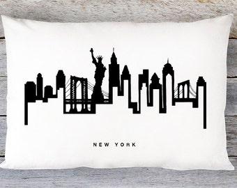 New York City Skyline Pillow Cover - New York Skyline Throw Pillow Cover - Modern Black and White Lumbar Pillow - By Aldari Home