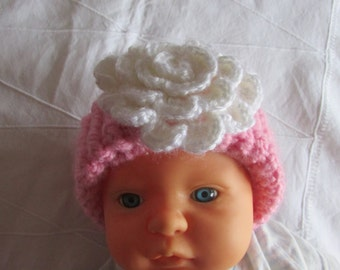 Toddler Knitted Ear Warmer -  Baby Girl's Knitted Head Band - Loom Knitted - Crocheted Flower - Pink with White Flower - Boho Headband