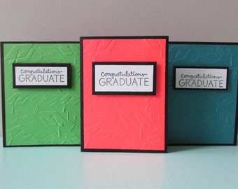 3 Graduation cards-Congratulations graduate card,Greeting cards,assorted Grad cards,embossed grad card,stamped cards,Handmade/Homemade cards