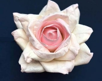 Handmade Paper/Parchment Roses - Ice Pink - 12 roses per bag
