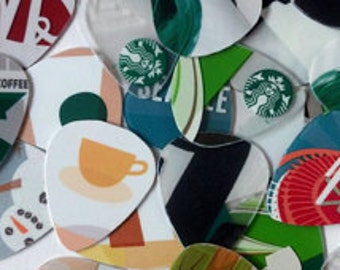 New Assorted Guitar Picks Made from Recycled Plastic Cards (Starbucks Only)