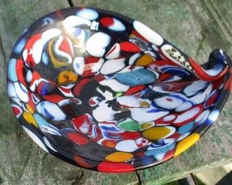 millefiori 70s Murano Venetian Art Glass Dish Bowl Small