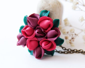 Red rose necklace, dark red, burgundy necklace, romantic gift for her, bridesmaid necklace, red wedding, polymer clay, red flower