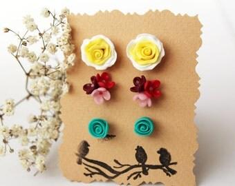 Set of stud earrings, yellow rose, red flower earrings, teal rose, turquise, yellow flower earrings, tiny studs, minimalist earrings