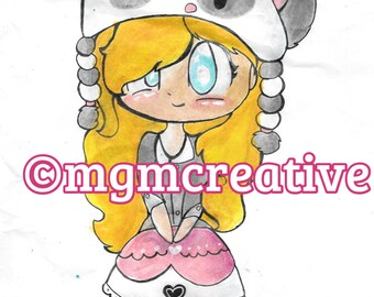 ATC Cute Panda Girl Illustration