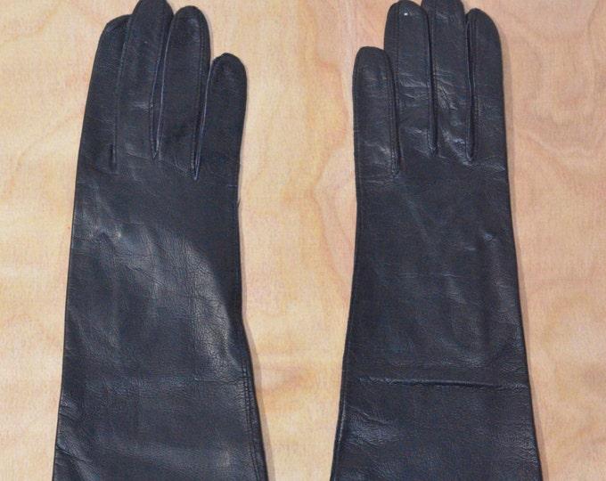 Vintage Estate Black Aris Kid Long Leather Gloves