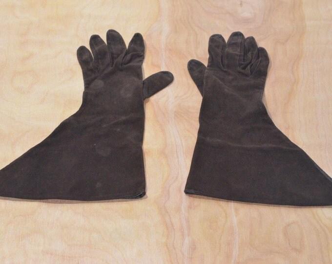 Vintage Estate Brown Leather Suede Avant Garde Gloves