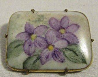 Pin or Brooch, Hand Painted Porcelain Tile in Silver Setting, Purple Flowers, 1960's