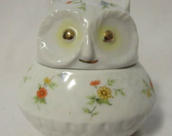 Owl Trinket Box, Porcelain, Lefton, Japan, 1980's