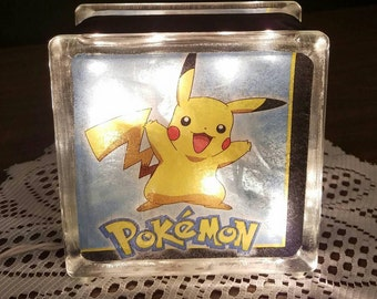 POKEMON Lighted Glass Block Nightlight and Decoration, Pikachu and Meowth